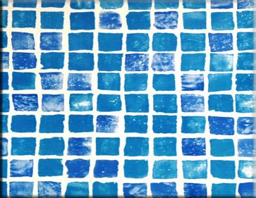 Detailbeeld folie mozaiek blauw motief RENOLIT ALKORPLAN 3000